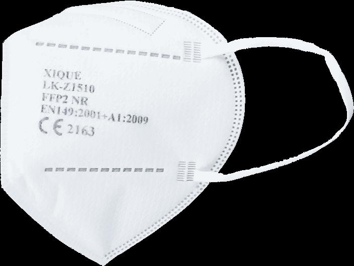 Weiße FFP2 Atemschutzmaske mit Textigummiband